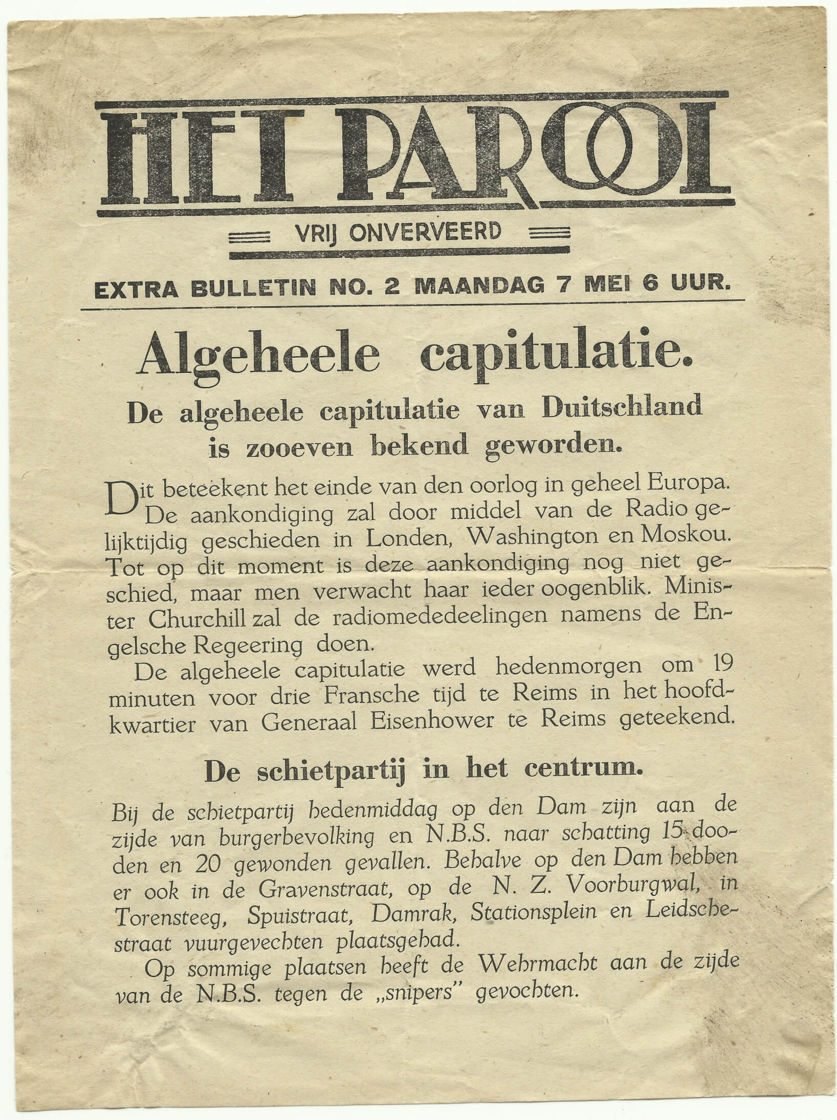 Het Parool Amsterdam 7 mei 1945