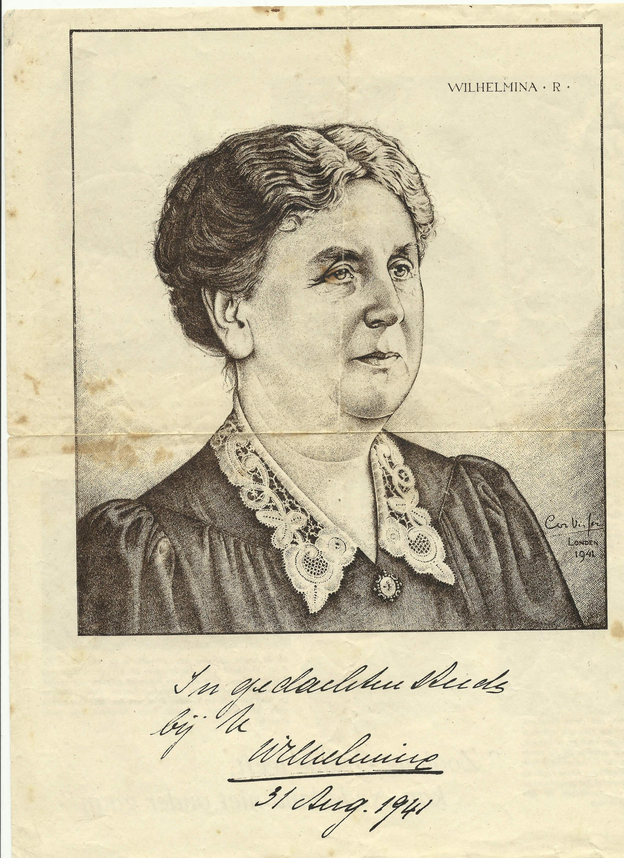 Pamflet Wilhelmina uit de tweede wereldoorlog 31 augustus 1941