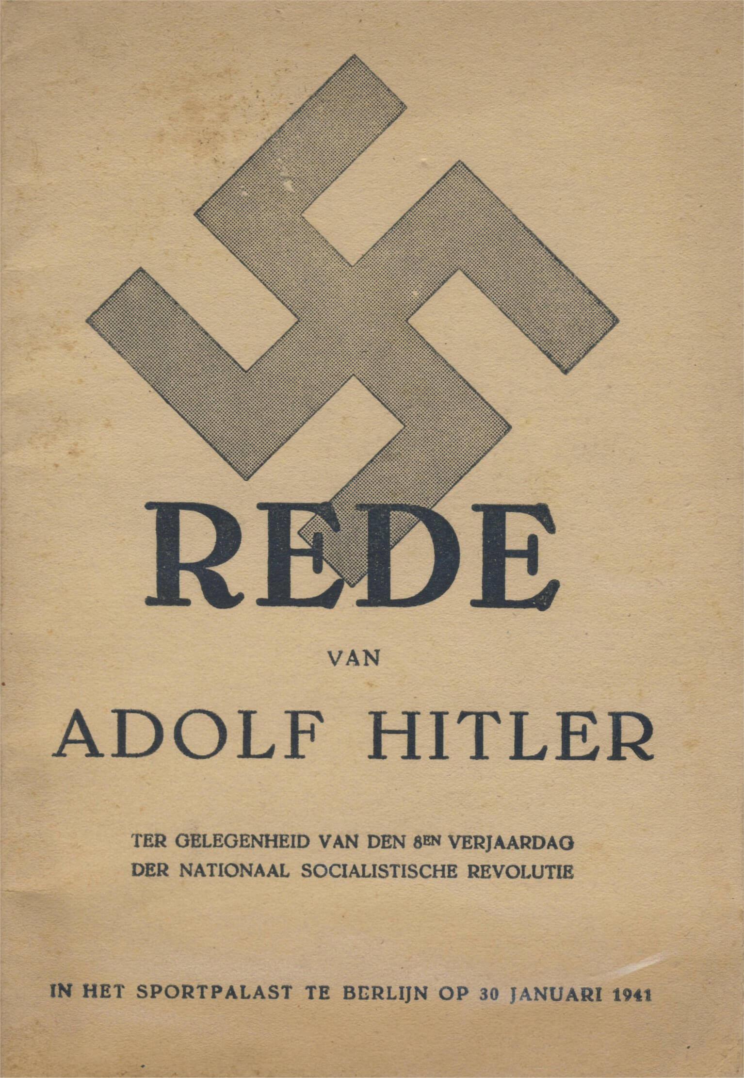 Rede adolf hiltler sportpalast 30 januari 1941 hakenkruis