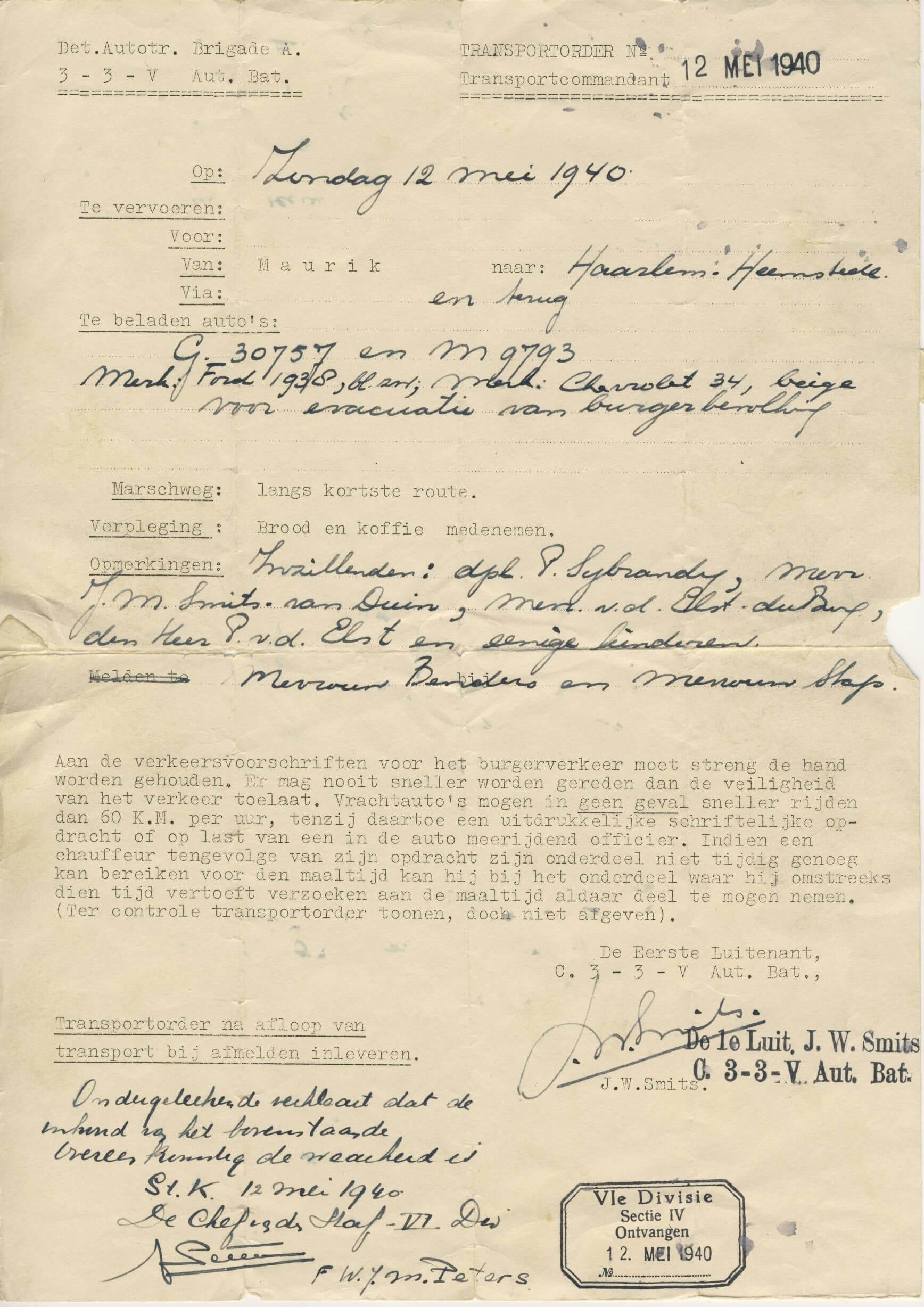 Transportorder uit de tweede wereldoorlog wo2 document