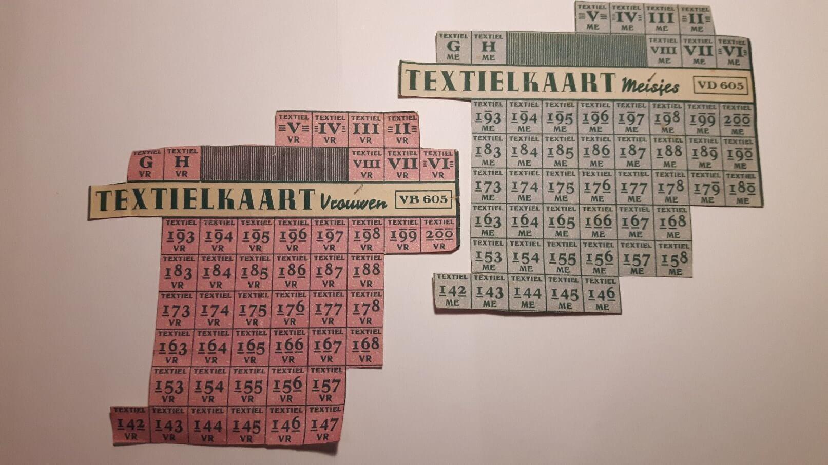 textielkaart meisjes en vrouwen distributiebonnen