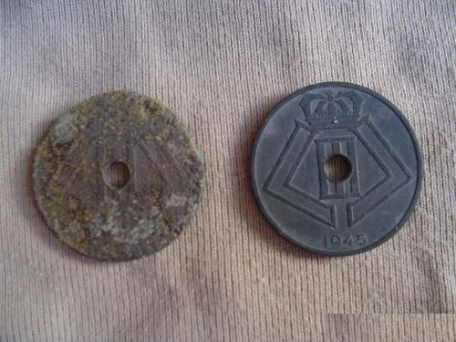 Belgisch oorlogs muntje Wo2 de tweede wereldoorlog munt munten