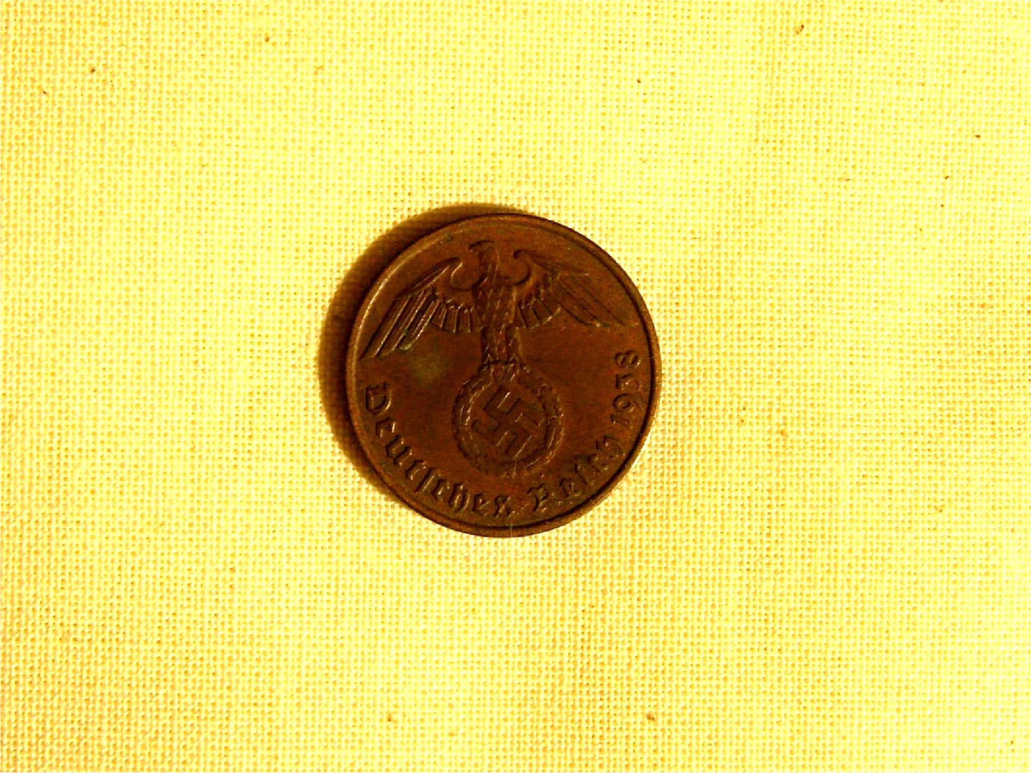 Koperen Duitse 2 pfennig 1938 Wo2
