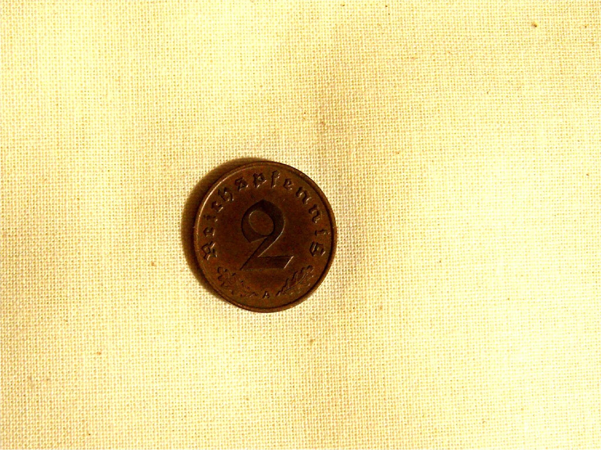Duitse 2 pfennig 1938 Wo2