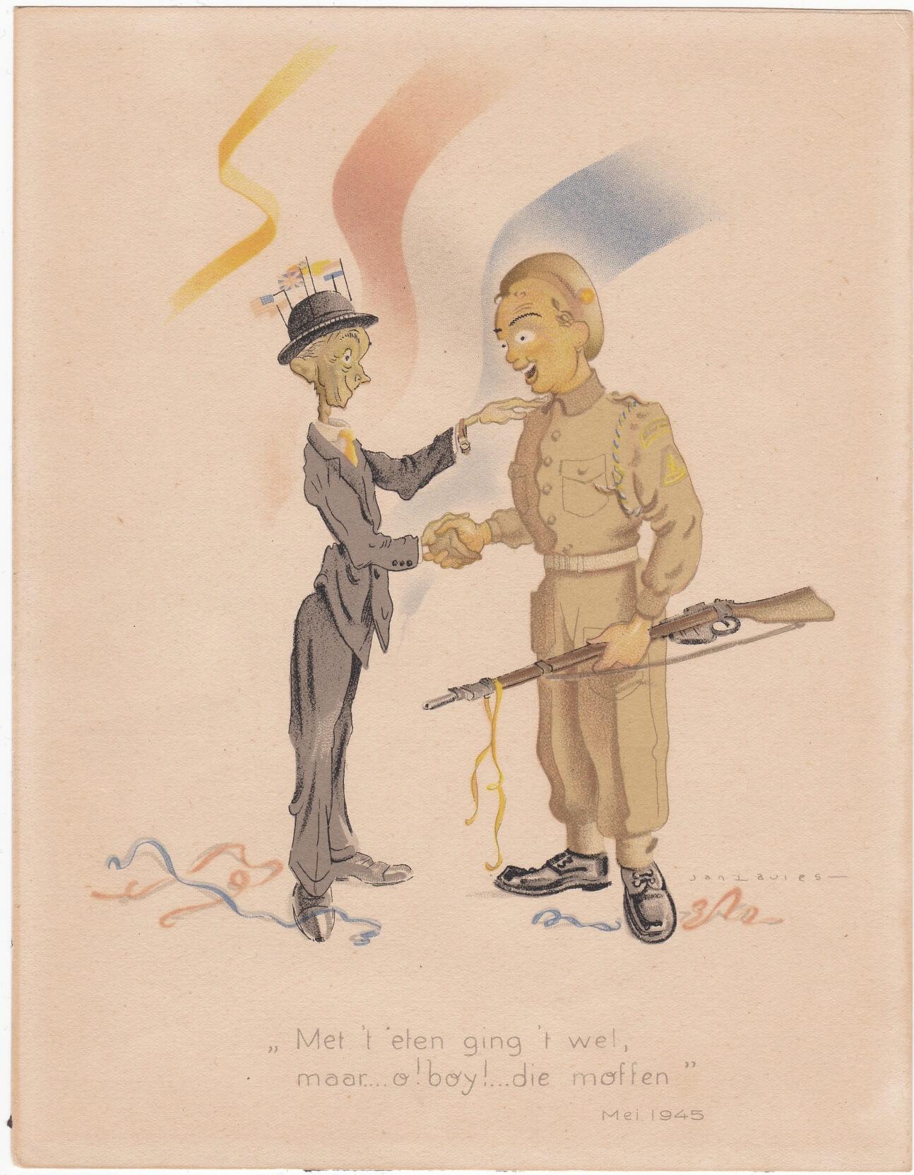 Spotprent hongerwinter bevrijding 1945