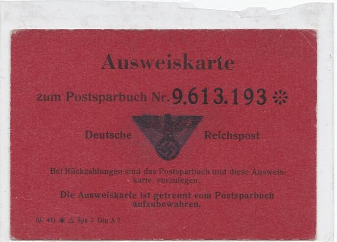 Ausweiskarte postsparbuch Deutsche Reichspost
