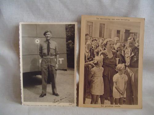 Foto Canadese soldaat en briefkaart Wo2 de tweede wereldoorlog