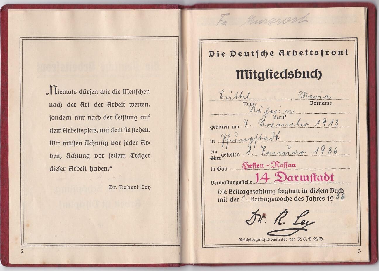 Die Deutsche Arbeitsfront Mitglidsbuch