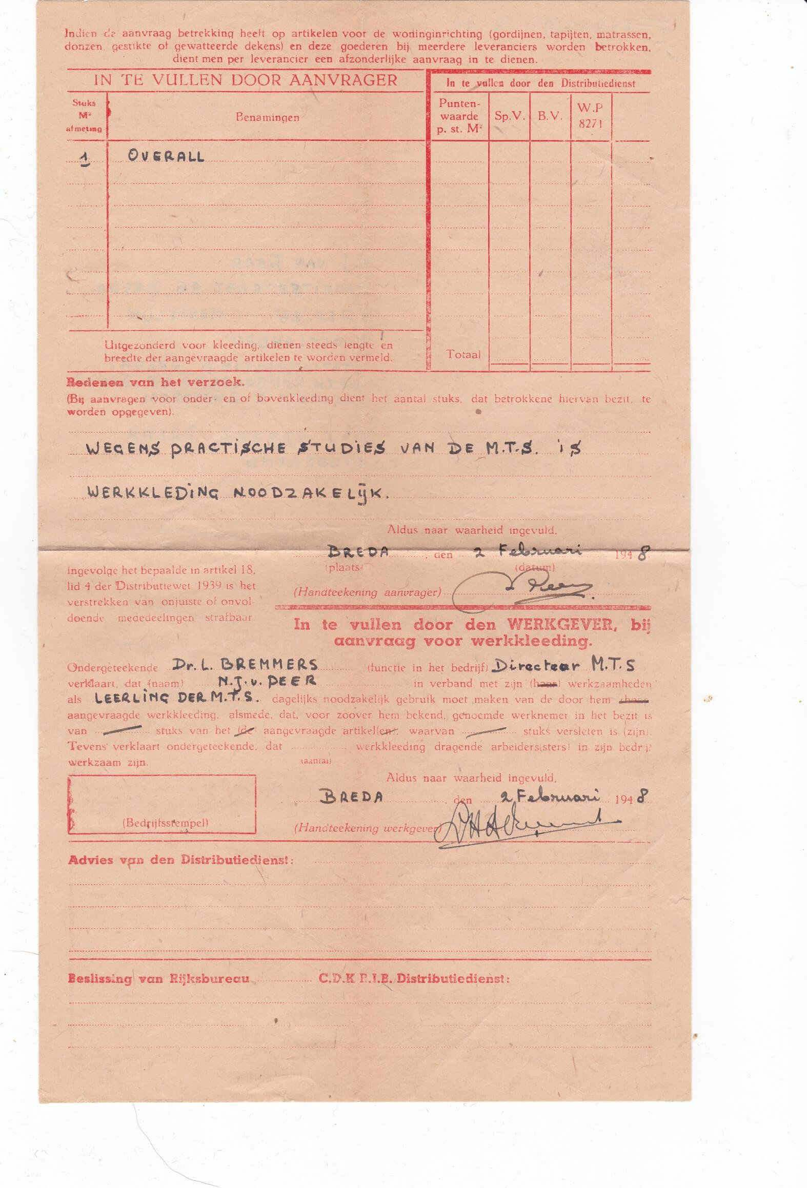 Formulier aanvraag extra textiel goederen 1948