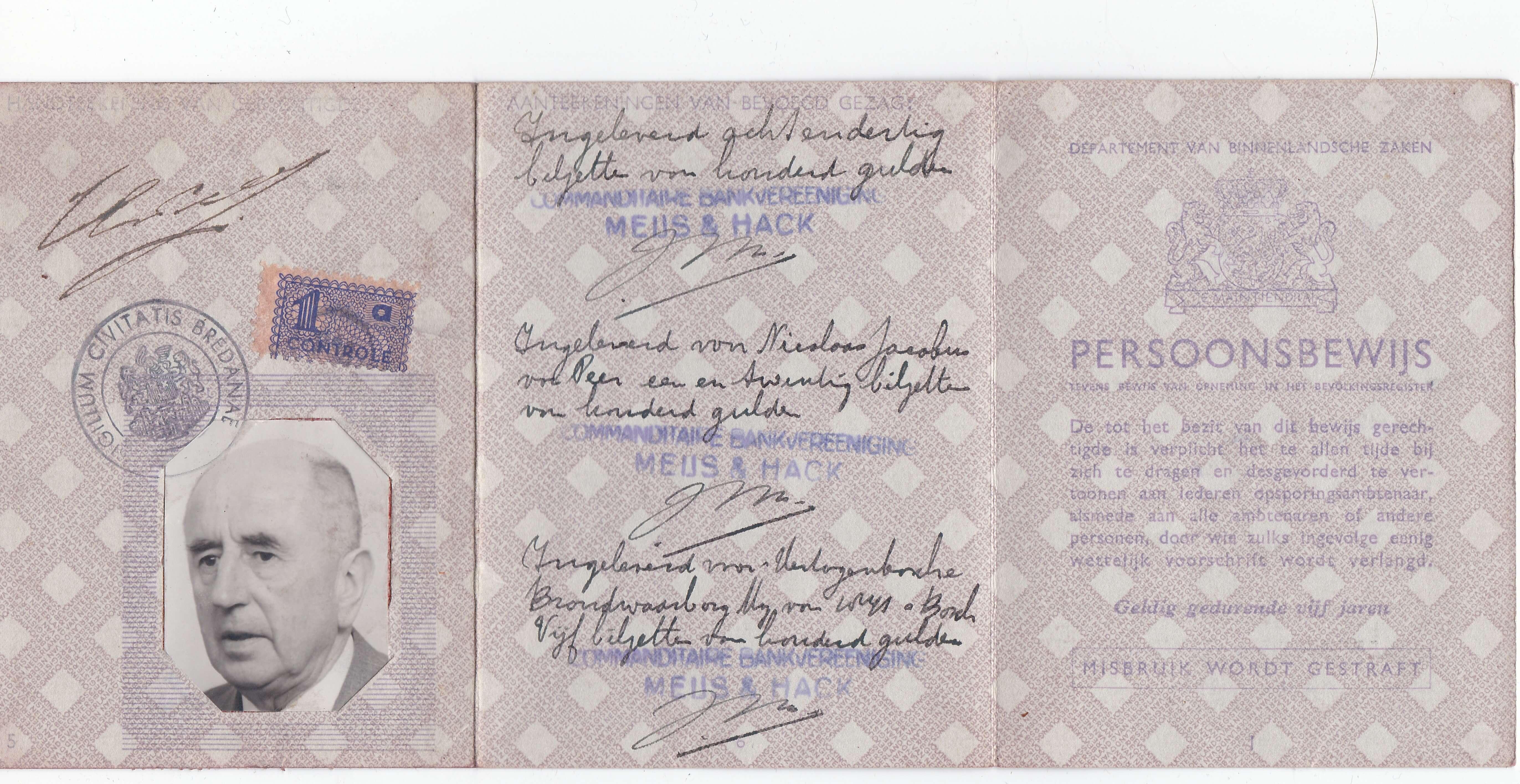 Persoonsbewijs uit wo2 van Henri Bartholomeus van Peer