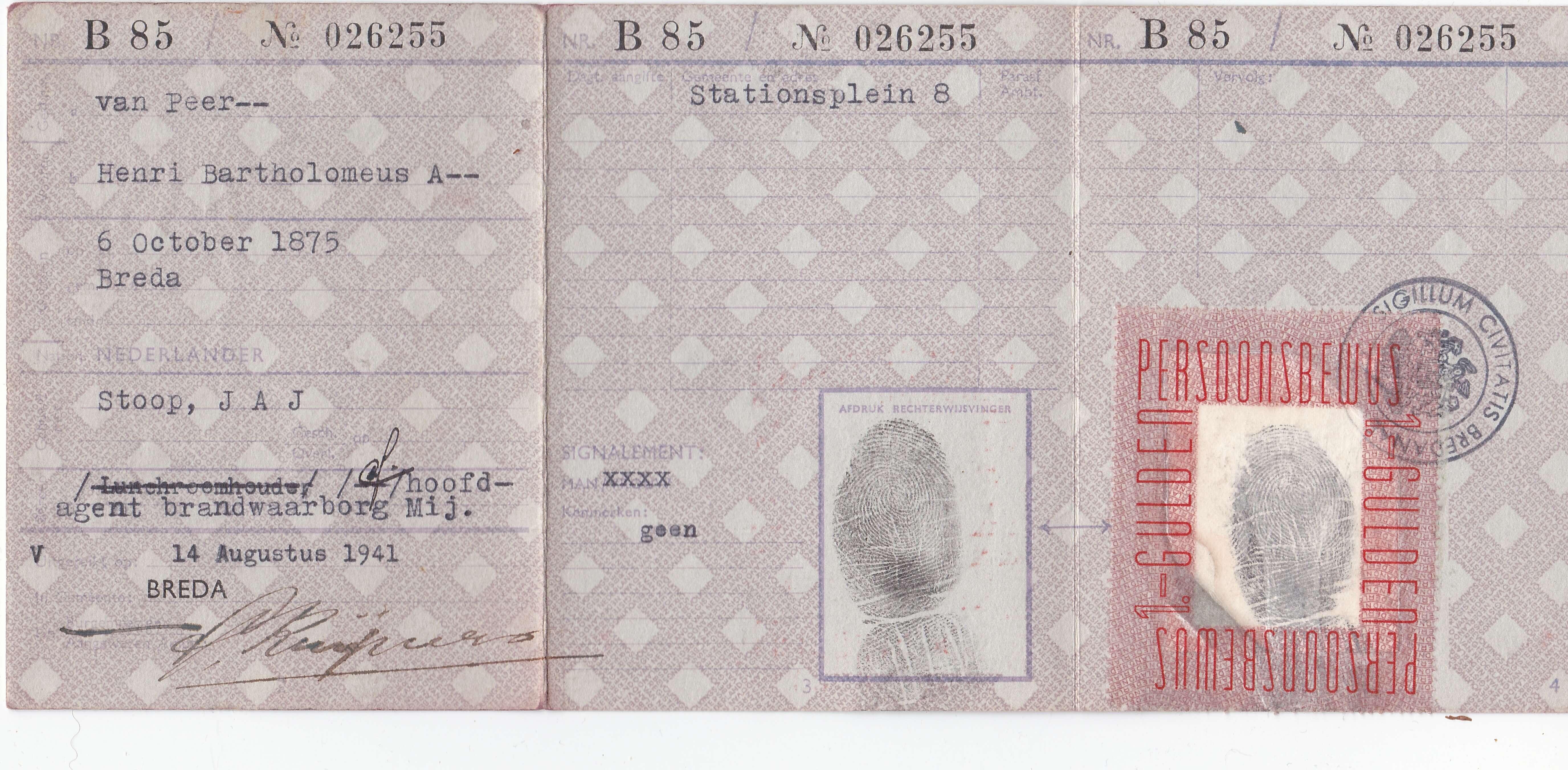 Persoonsbewijs uit de tweede wereldoorlog van Henri Bartholomeus van Peer