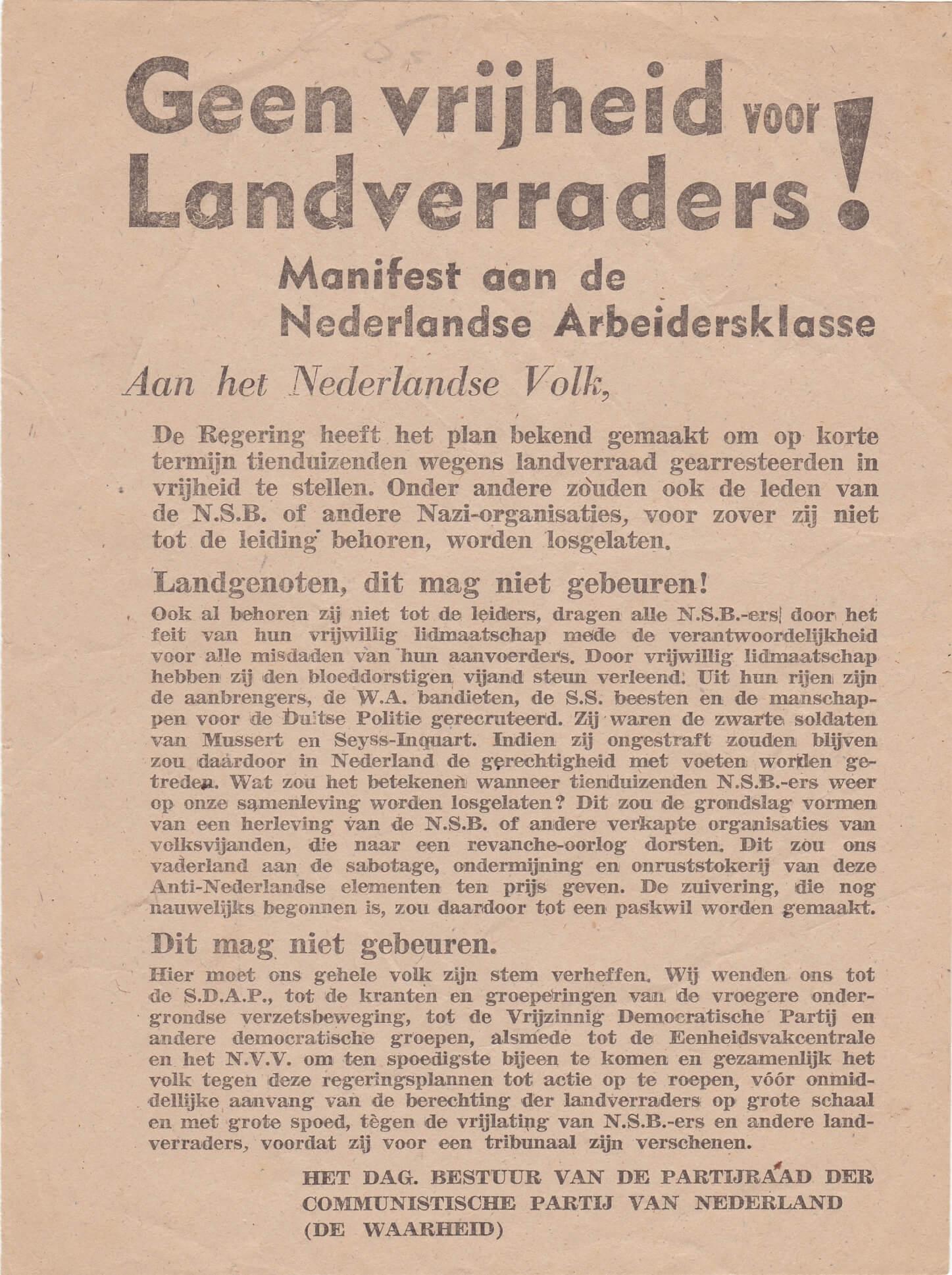 Pamflet Geen vrijheid voor landverraders