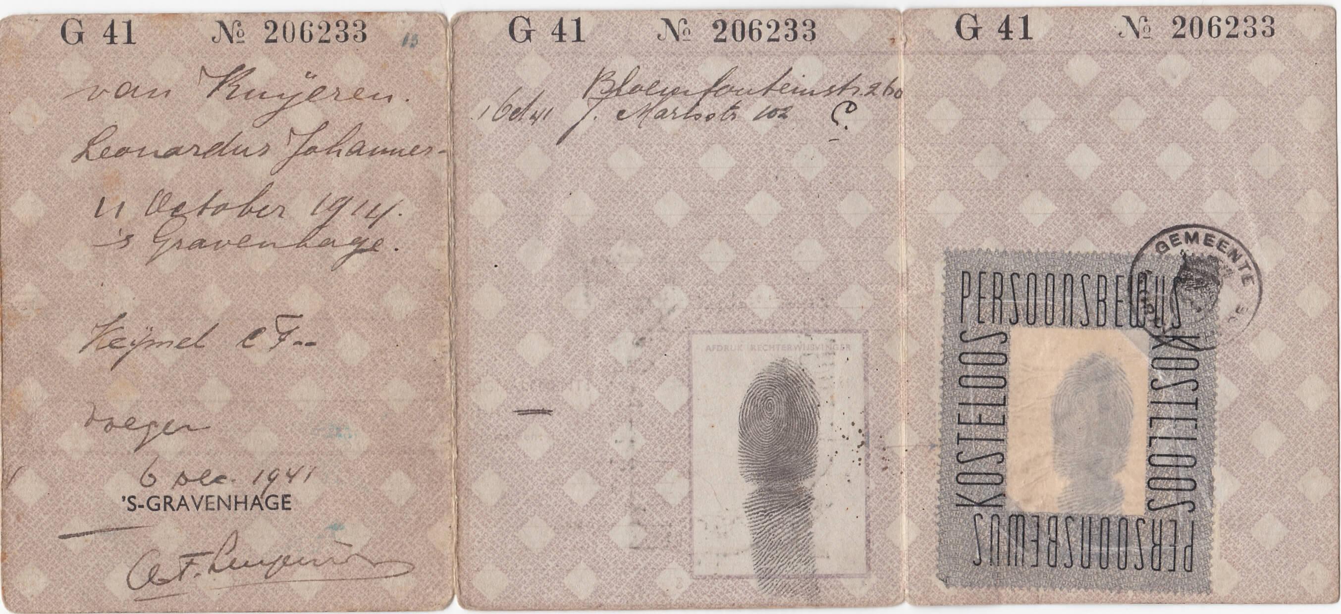 persoonsbewijs uit wo2